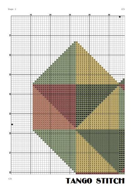 Red heart geometric Valentines cross stitch pattern