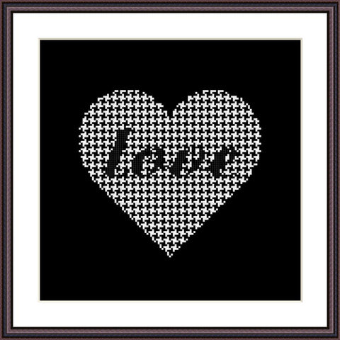 Heart geometric ornament cross stitch pattern
