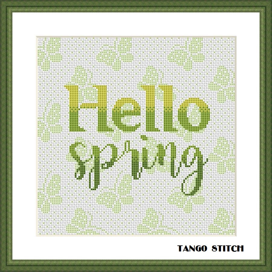 Hello spring typography green butterfly cross stitch pattern, Tango Stitch