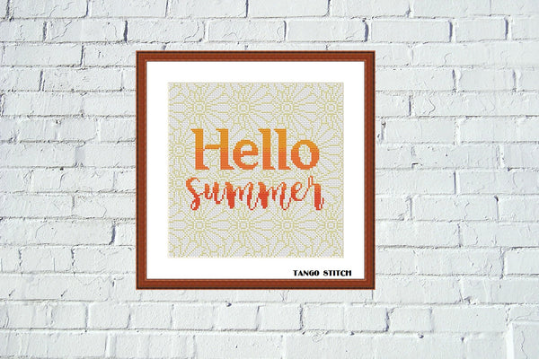 Hello summer orange typography cross stitch pattern, Tango Stitch