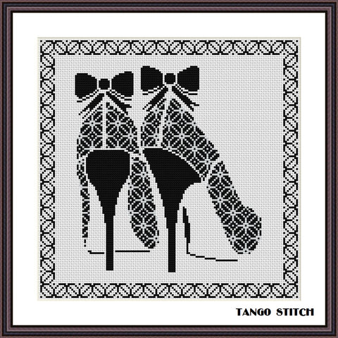 High heels cross stitch black and white ornament pattern