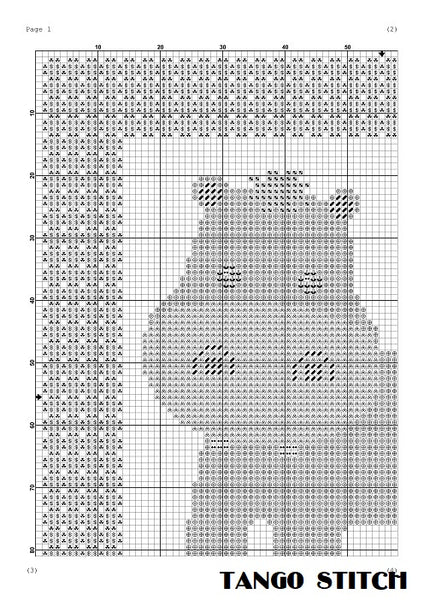 Hippo funny nursery cross stitch pattern
