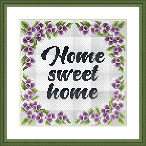 Home sweet home violet floral cross stitch pattern