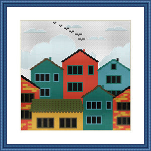 Houses city landscape cross stitch pattern