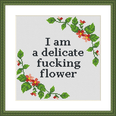 Delicate f*cking flower funny cross stitch pattern