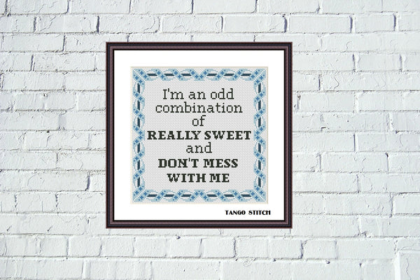 I'm an odd combination funny sarcastic cross stitch pattern, Tango Stitch