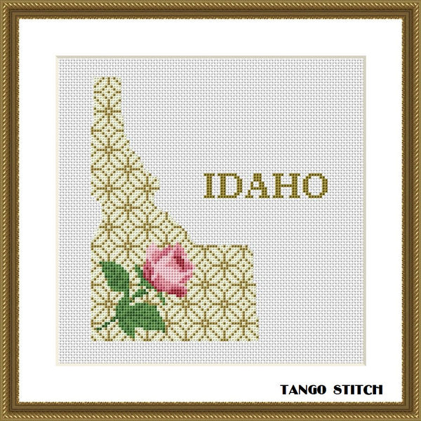 Idaho USA state map silhouette cross stitch pattern