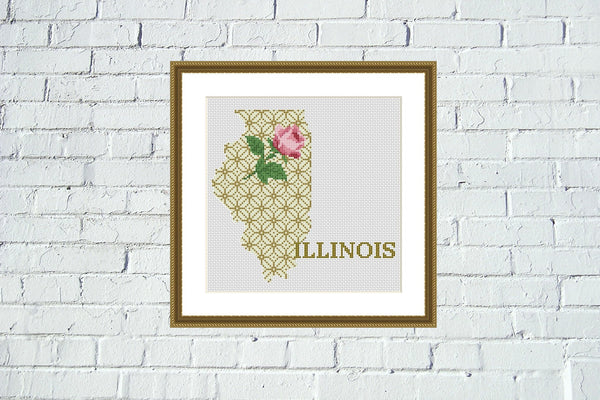 Illinois silhouette state map cross stitch pattern