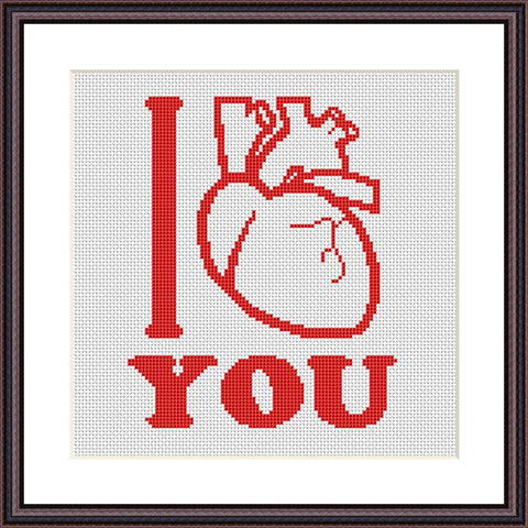 I love you Red heart romantic cross stitch pattern