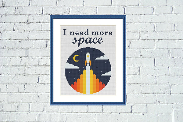 I need more space funny cross stitch pattern