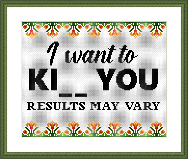 I want to ki... you Result may vary funny cross stitch pattern