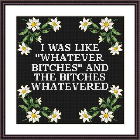 I was like whatever bitches and the bitches whatevered funny cross stitch pattern