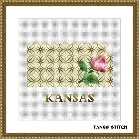 Kansas USA state map flower ornament cross stitch pattern
