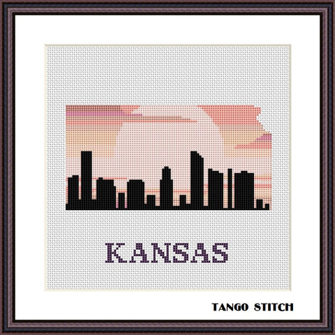 Kansas USA state map skyline sunset cross stitch pattern, Tango Stitch