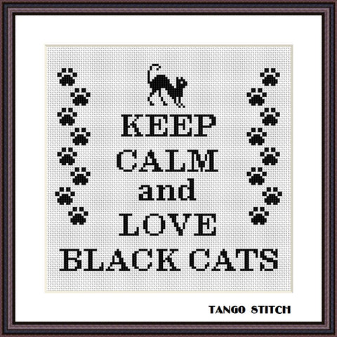 Keep calm and love black cats cross stitch pattern - Tango Stitch