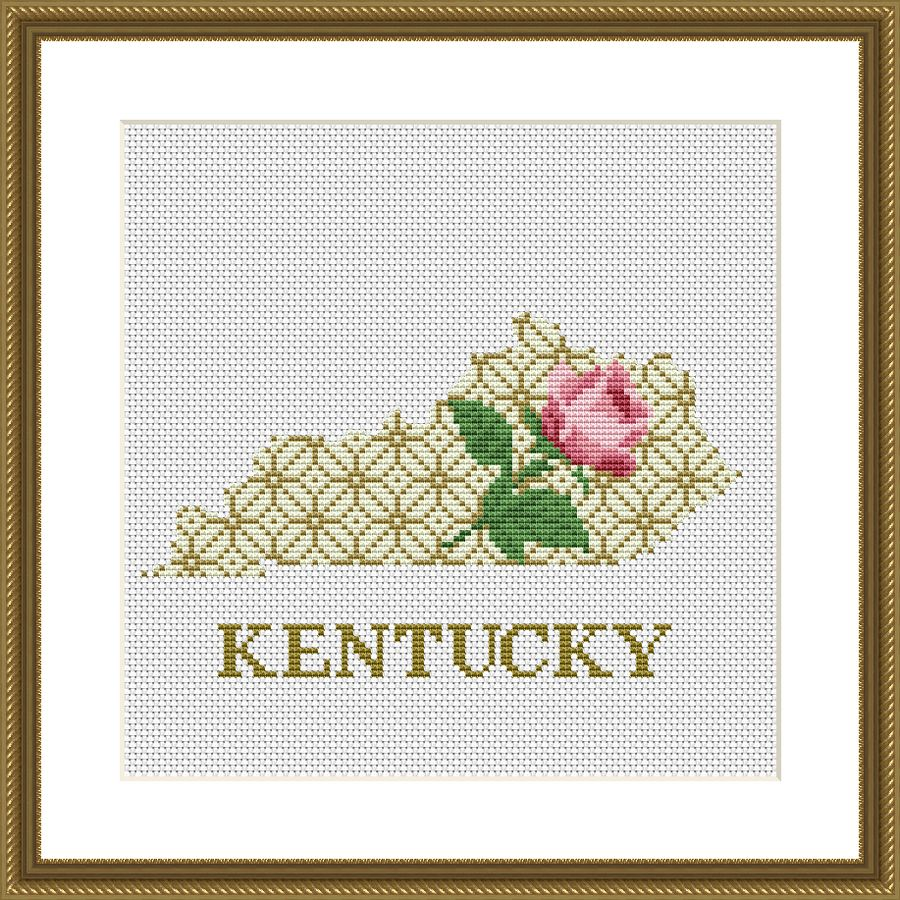 Kentucky state map floral ornament cross stitch pattern