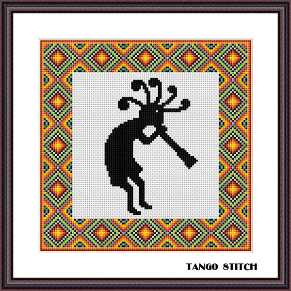 Kokopelli native American ethnic cross stitch pattern