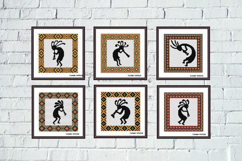Kokopelli Native American ornament cross stitch Set of 6 patterns