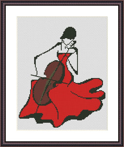 Lady in red romantic cross stitch pattern