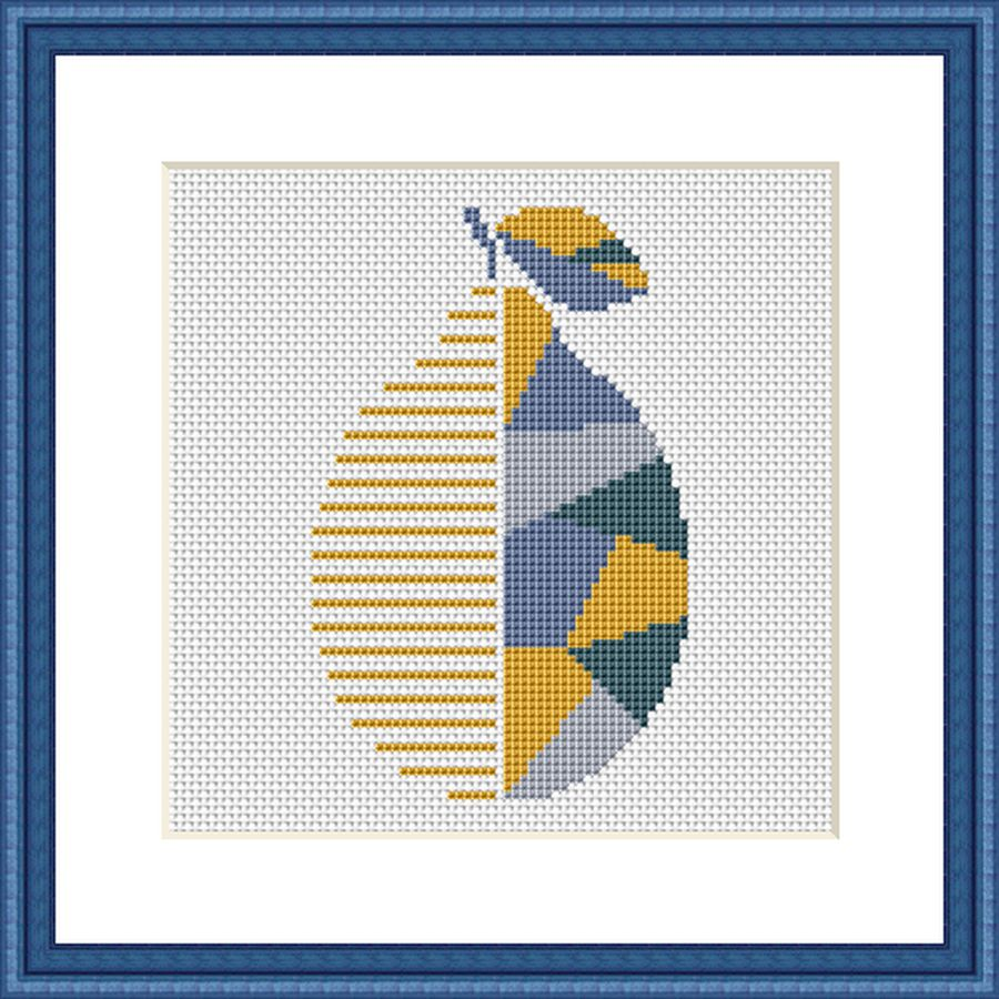 Lemon geometric patchwork cross stitch pattern
