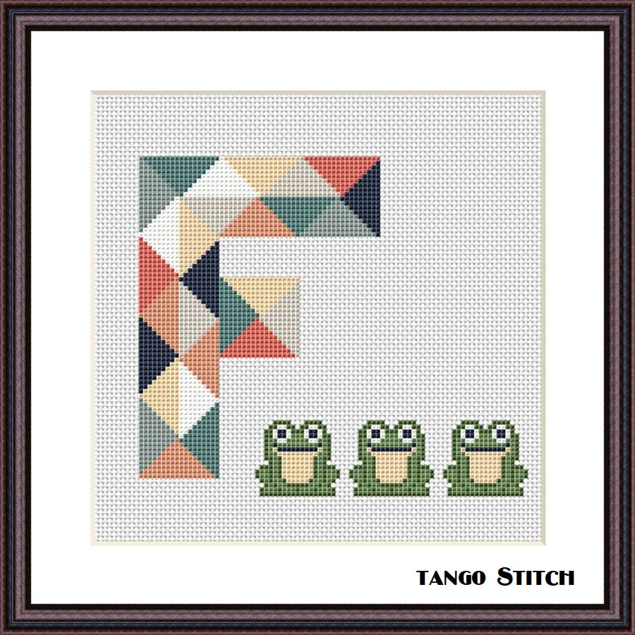 Letter F and cute frogs geometric cross stitch pattern, Tango Stitch