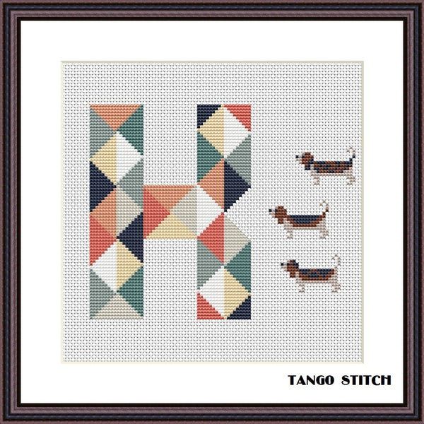 Letter K cute dogs nursery cross stitch pattern