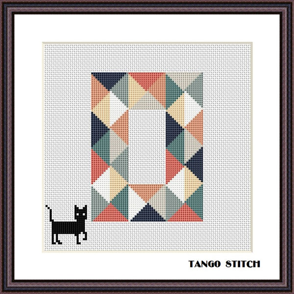 Letter O and funny black cat cross stitch pattern