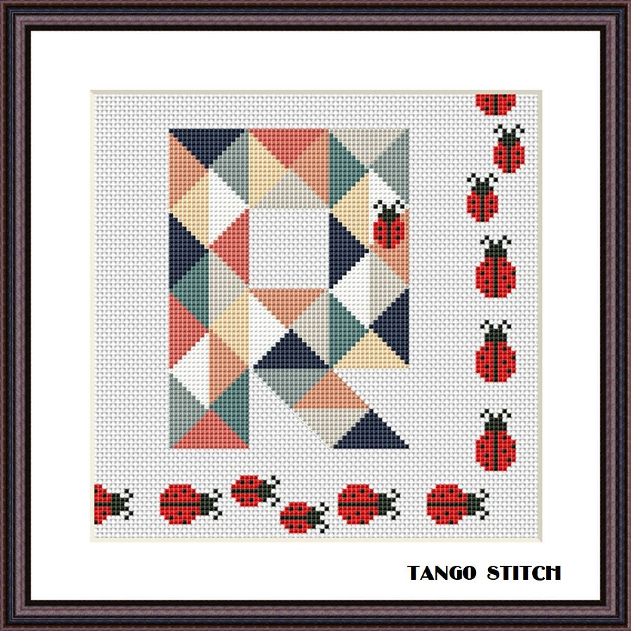 Letter R and cute ladybugs geometric funny cross stitch pattern