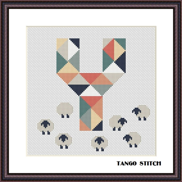 Letter Y and cute sheeps nursery cross stitch pattern, Tango Stitch