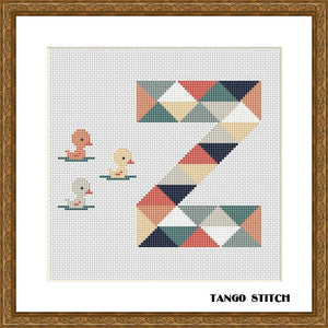 Letter Z and small ducks nursery cross stitch pattern