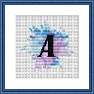 Letter A blue watercolor pastel cross stitch pattern