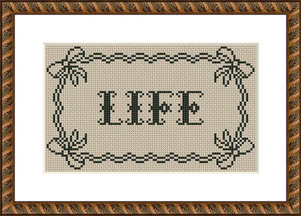 Life lettering vintage cross stitch pattern
