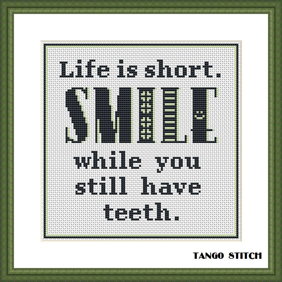 Life is short funny sassy sarcastic quote cross stitch pattern