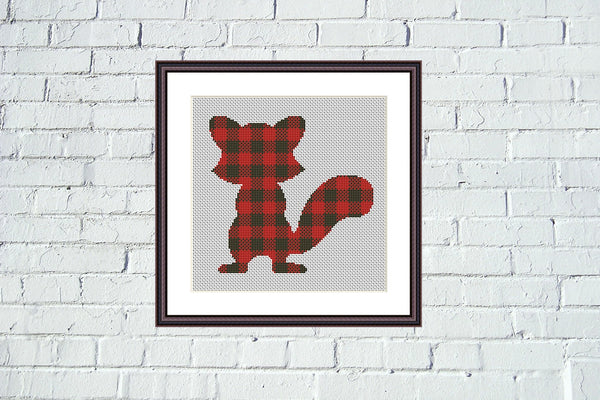 Lumberjack Squirrel silhouette art cross stitch pattern