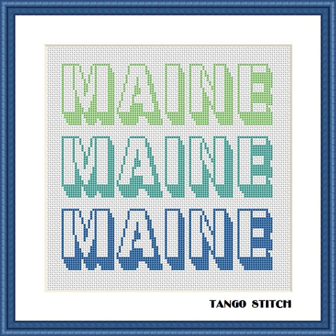 Maine USA state typography cross stitch pattern