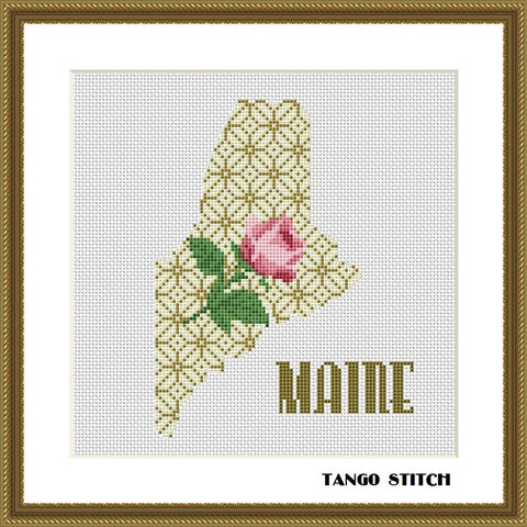 Maine USA state map flower ornament cross stitch pattern, Tango Stitch