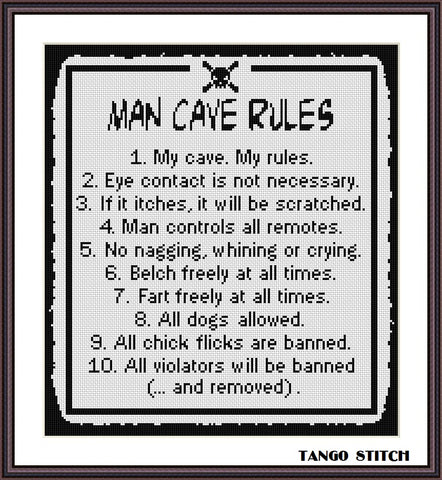 Man cave rules funny sassy cross stitch pattern
