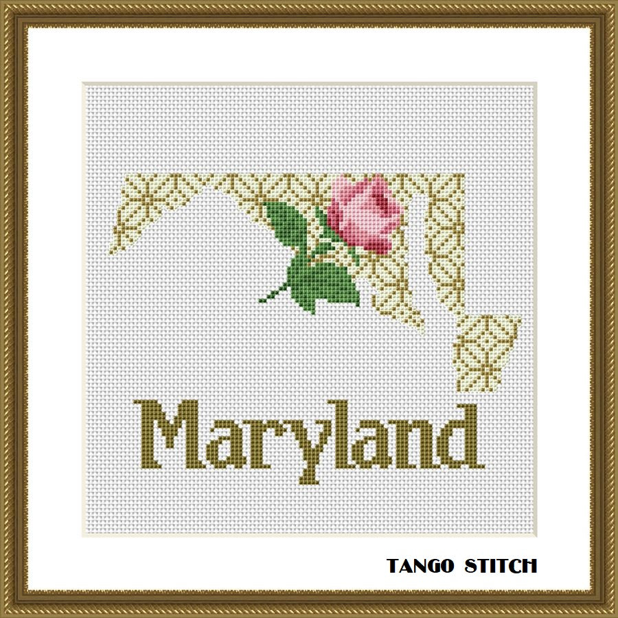 Maryland state map rose ornament cross stitch pattern