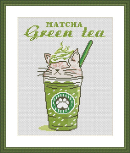 Matcha green tea cute cat cross stitch pattern