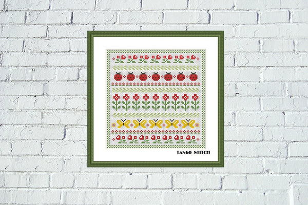 Meadow summer flower ornament cross stitch pattern