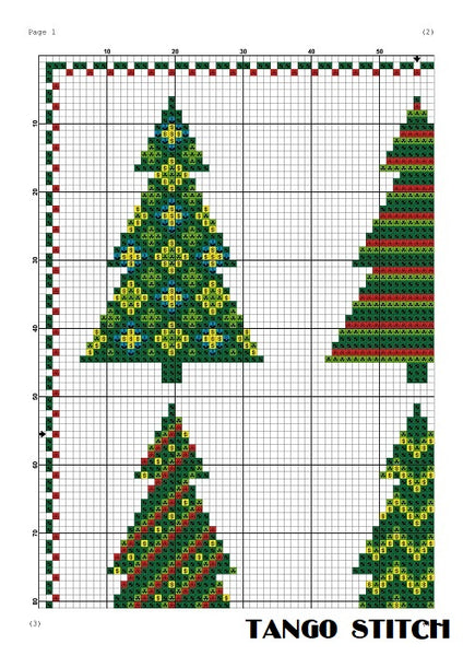 Christmas tree cross stitch ornament pattern