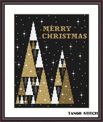 Merry Christmas tree abstract cross stitch pattern