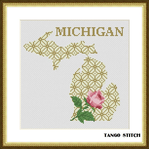 Michigan USA state map flower ornament cross stitch pattern