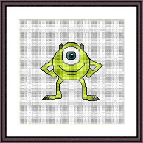 Mike Wazowski cross stitch pattern