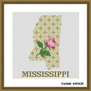 Mississippi state map silhouette flower ornament cross stitch pattern