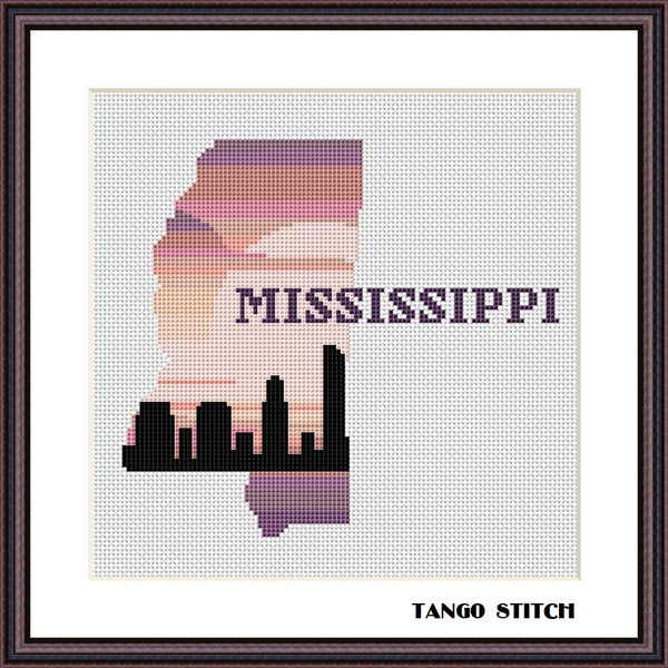 Mississippi state map sunset skyline silhouette cross stitch pattern