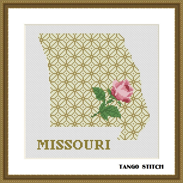 Missouri USA state map flower ornament cross stitch pattern