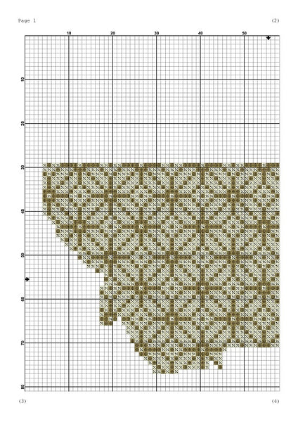 Montana state map flower ornament silhouette cross stitch pattern