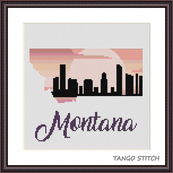 Montana state map silhouette sunset skyline cross stitch pattern