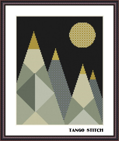 Mountains landscape abstract geometric cross stitch ornament pattern